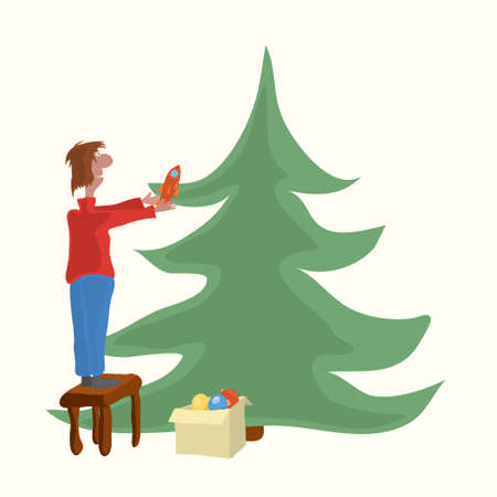 man decorates a christmas tree with a rocket for the holiday. favorite Christmas toy Ilustracja
