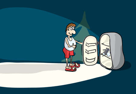 surprised man in home clothes stands in front of an open refrigerator at night. healthy food per year mouse Ilustracja