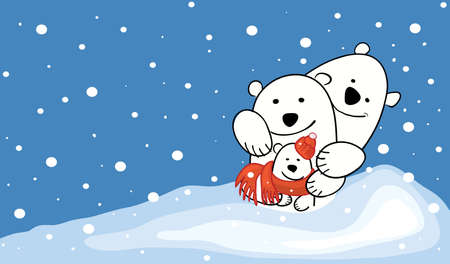 happy family of three polar bears on a background of a snowy landscape. cheerful winter mood