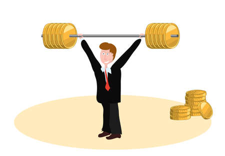 the manager lifted up a barbell with a large weight of gold coins. cash bonus to salary