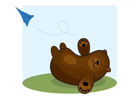 Bear launches paper airplane in flight. little baby trip Ilustracja