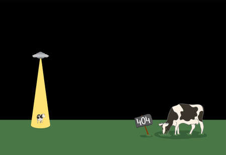 plate 404 is in the field where the cows graze and a flying saucer beam steals one of them. extraterrestrial internet error page