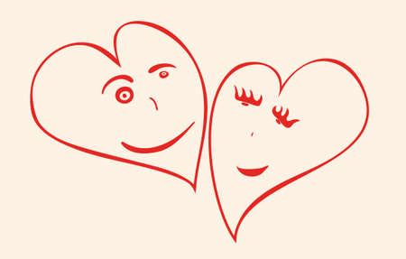Vector drawing of a pair of hearts with a loving facial expression. heartwarming feelings
