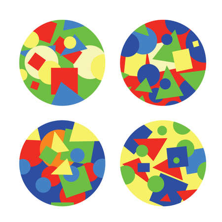 Four vector flat circles with abstract colorful shapes inside. ordered chaos