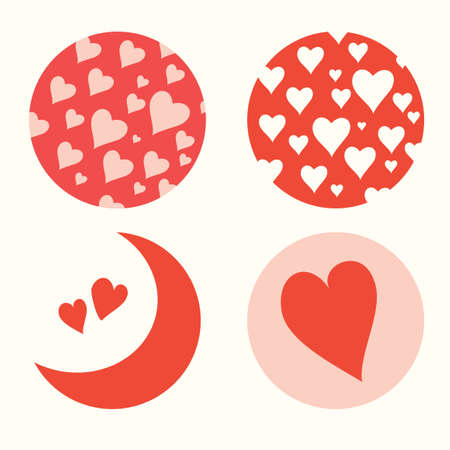 Four vector icons with hearts symbols. designation of love in valentines