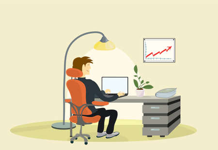 satisfied manager in a chair at the table, with a laptop. increase work results Ilustracja