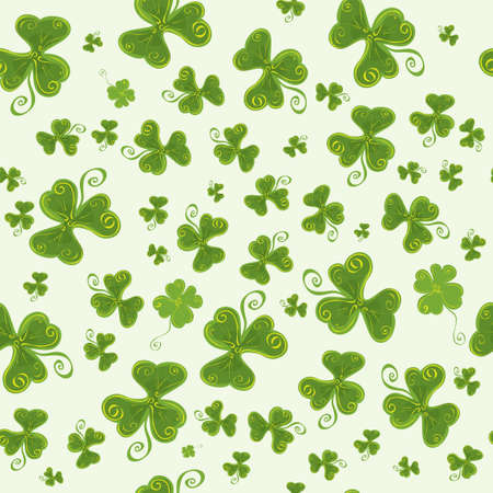 Seamless vector background with three-leaf and four-leaf clovers. find your luck
