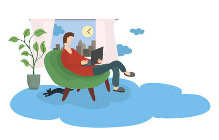 man with a laptop in a soft chair against the background of a window with a city view. cloud technology for remote work