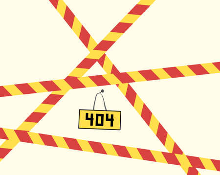 404 vector plate with restrictive striped ribbons. unknown error entry denied