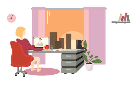 vector illustration a woman with a laptop is negotiating a video call. remote work from home