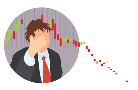silhouette of a businessman with hand covering his head on the background of falling quotes. global stock exchange recession