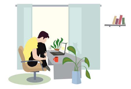 Schoolboy  conducts a video conference on a laptop from home. time for classes remotely Ilustrace