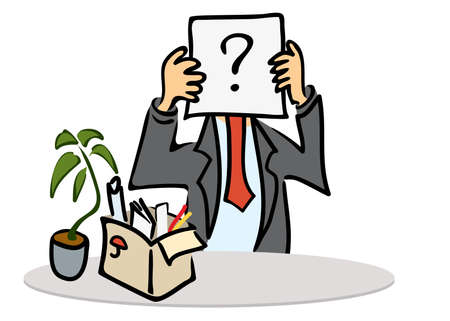 manager with a question on the tablet in his hands and a box with things and ficus on the table. dismissal and job search