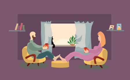 vector man and woman are sitting in chairs with coffee mugs in hands on the background of window with a cat. warm morning together at home Ilustrace