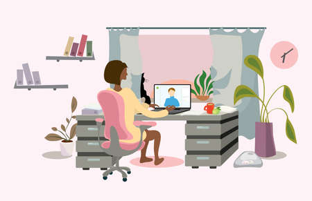 a business lady in a chair at the table is negotiating a video call from home. time for active remote work Ilustrace