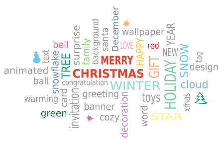 Merry Christmas and other word cloud text design on a white background. Winter Holidays Associations
