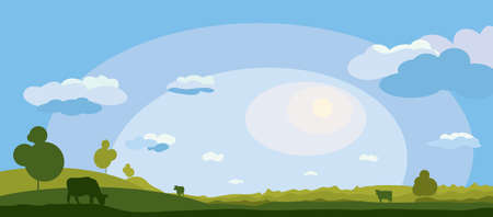 vector field with clouds and with silhouettes of cows grazing free. summer rural landscape Ilustrace