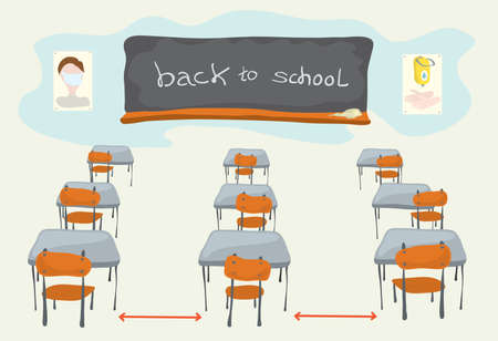 Empty school desks and chairs in the classroom with a blackboard and the inscription Back to school. the class is ready for classes during the pandemic Ilustrace