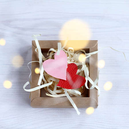 two heart symbols in a box. Valentines Day Gift Reklamní fotografie