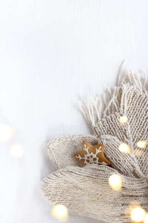 white mittens and a scarf with gingerbread cookie in the shape of a snowflake and glare of garland lights. warming holiday moments Reklamní fotografie