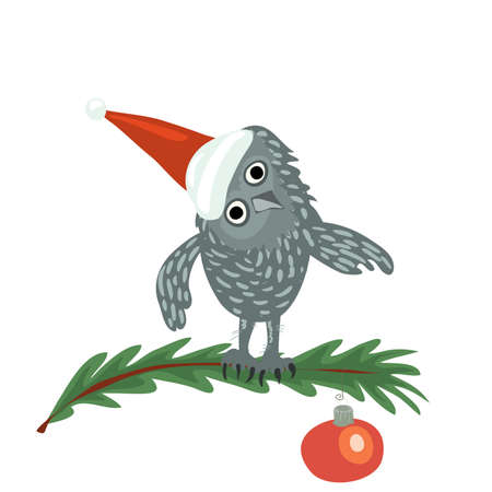 vector owl in a red cap sits on a spruce branch decorated with a red ball. christmas holiday in the forest Ilustracja