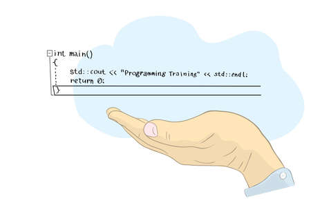 vector illustration with cloud and lines of computer code above the hand of a programmer. distance learning programming languages
