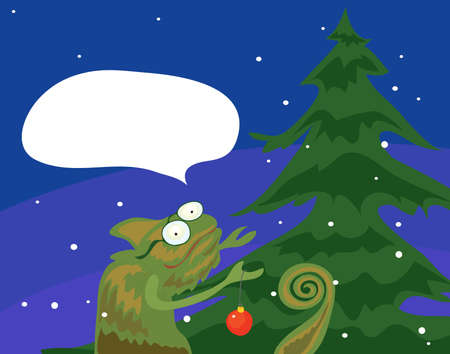 vector chameleon decorator decorate the tree with a red ball on a winter evening. with thoughts of evergreen