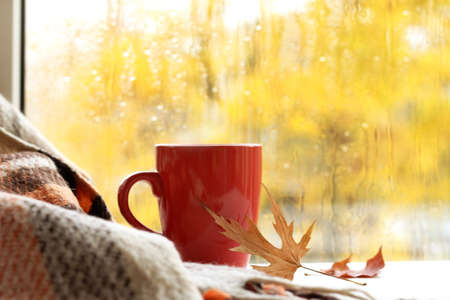 red mug and plaid on the background of a window with drops after the rain. autumn warming drink 免版税图像