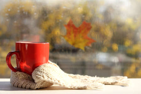 red mug with white scarf on the background of a window on a sunny morning. warming drink for mood
