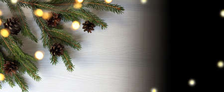 branches of a Christmas tree with cones and garland lights. long holiday banner