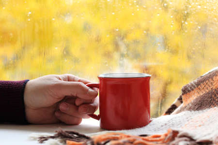 hand with a red mug on the table with a plaid on the background of the autumn window. a warm drink in a cozy environment