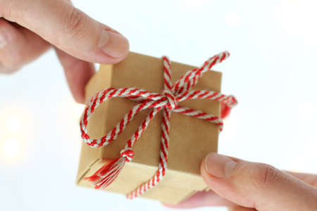 small gift in hands close-up front view. holiday greetings Foto de archivo