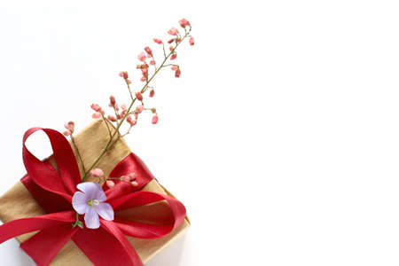 box with a gift tied with a red ribbon and decorated with flowers on a white background. holiday surprise Foto de archivo