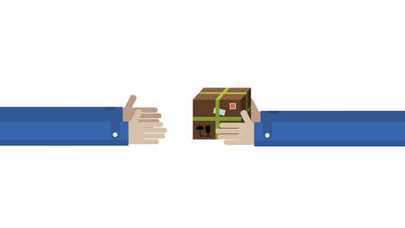 long transfer of the parcel from hand to hand. postal delivery service 矢量图像