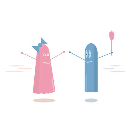 pink and blue ghost on a date. happy womens day greetings