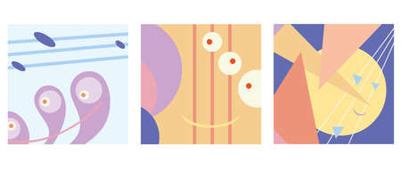 abstract vector images with shapes and lines. fantastic triptych
