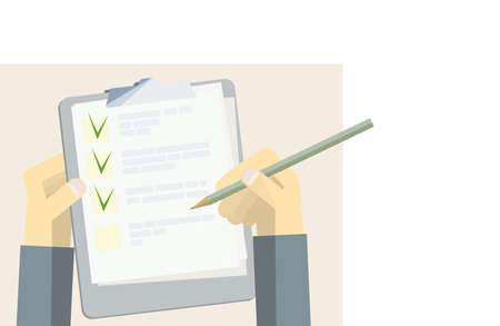 green check marks in the questionnaire and a holder for papers with a pencil in hand. multiple choice survey