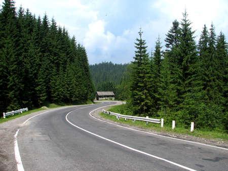 Serpentine route reculent dans le lointain, Carpatian montagnes, Ukraine occidentale