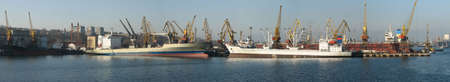 odessa: panoramic view of Odessa seaport with cranes and ships Stock Photo