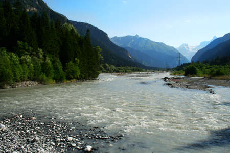 wide walley with powerful mountain river. Caucasus, Russia Stock Photo - 1685686