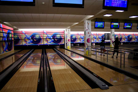 empty bowling lanes Stock Photo