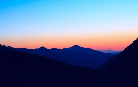 blue mountains at the sunset time photo