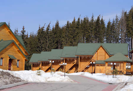 column of timber chalets located at the mountains photo