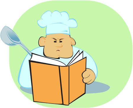 cook with ong-tailed tit reading about food preparation Vector