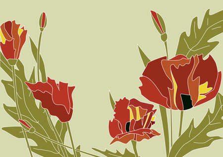 floral background with poppy flowers Vector