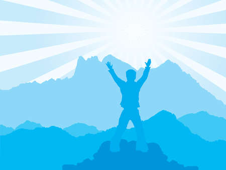 silhouette of man raising his hands and greeting a sunrise. Illustration at the blue tones