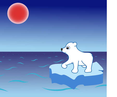 smiling polar bear on a drifting ice-floe Vector