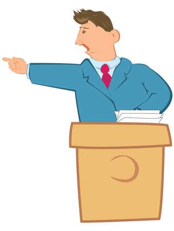 rostrum: public speaker on a rostrum speaks with expression Illustration
