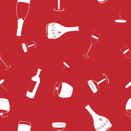 seamless drinks background at red and white colours Vector