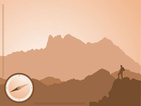 travel hiking background with mountains and hiker silhouettes Vector